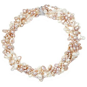 Pearls of the Orient 6 Strand Cultured Freshwater Pearl Necklace - Pink/White
