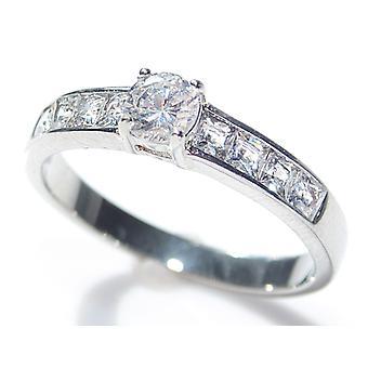 Graviert mit ETEMEO - Ah! Schmuck-Princess-Schliff Ring mit einem runden Zentrum Stein