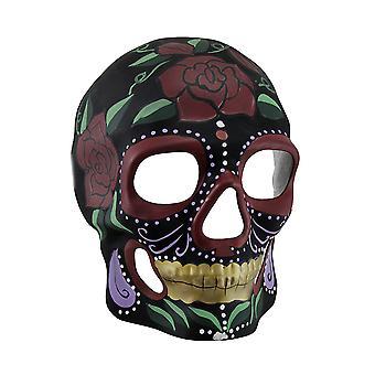 Crâne noir Roses rouges jour de mort Sugar Skull masque
