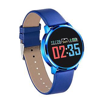 الاشياء المعتمدة® الأصلي Q8 الذكية فرقة اللياقة البدنية الرياضية تعقب النشاط Smartwatch مشاهدة OLED الهاتف الذكي iOS الروبوت سامسونج هواوي الأزرق الجلود