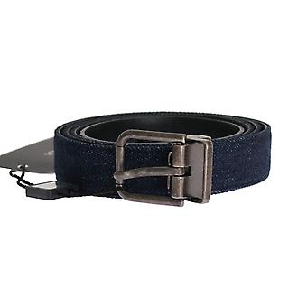 Blue cayman leather cotton belt