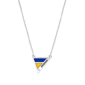 San Jose State University Engraved Sterling Silver Diamond Geometric Necklace In Blue & Yellow