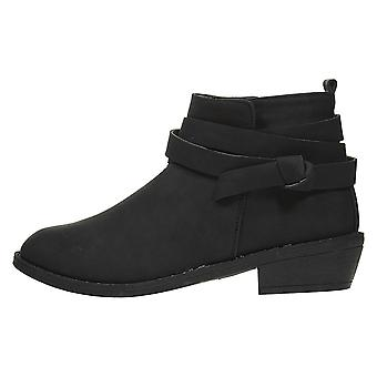 Women's PU Low Ankle Boots with Knot Strap Small Heel Sole Fashion Shoes