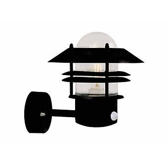 1 Light Outdoor Wall Light Black With Motion Sensor Ip54