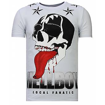 Hellboy-Rhinestone T-shirt-White