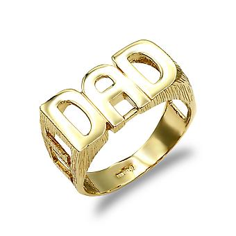 Jewelco London Men's Solid 9ct Yellow Gold Curb Link Sides DAD Ring