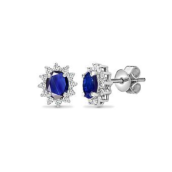 Jewelco London 18ct White Gold Cluster Set G SI 0.19ct Diamond and Oval Blue 1.06ct Sapphire Royal Cluster Stud Earrings