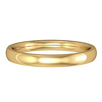 Κοσμήματα του Λονδίνου 9ct κίτρινο χρυσό-2,5 χιλιοστά ουσιαστικό σχήμα Δικαστηρίου μπάντα δέσμευση/δαχτυλίδι γάμου