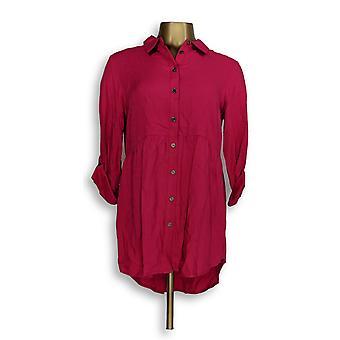Joan Rivers Classics Collection mulheres ' s Top (XXS) botão Pink A293988