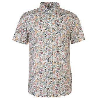 Soviet Mens Short Sleeve Paisley Shirt Chest Pocket Cotton