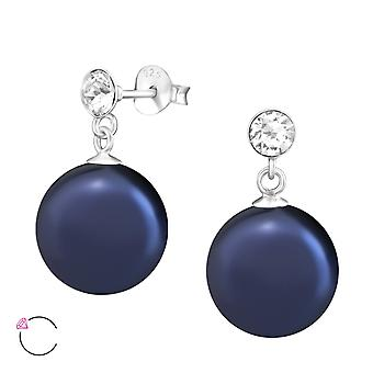 Hanging Round Crystal From Swarovski® - 925 Sterling Silver Ear Studs - W37961x