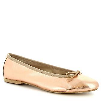 Leonardo Shoes Kobiety'ręcznie balet mieszkania w proszku różowy laminowanej skóry