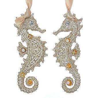 Kurt Adler Vintage Style Glamour Seahorses Holiday Ornaments Set of 2