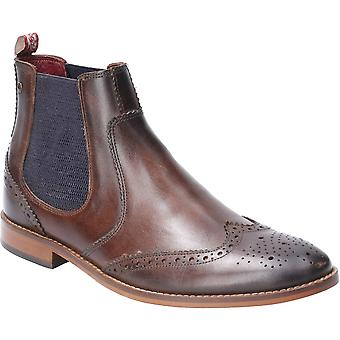 Base London Mens Gaffer Washed Pull On Leather Chelsea Boots