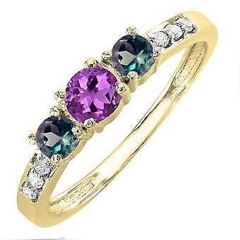 Dazzlingrock Collection 14K Amethyst, Alexandrite & White Diamond Three Stone Engagement Ring 1/2 CT, Yellow Gold