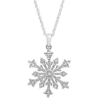 Dazzlingrock Collection 0.10 Carat (ctw) Round White Diamond Snowflake Ladies Pendant 1/10 CT, Sterling Silver