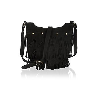 "Black Suede 12.0"" Tassle Bag Adjustable Shoulder Strap"