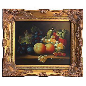 Frukter, oljemålning med ram, 20x25 cm