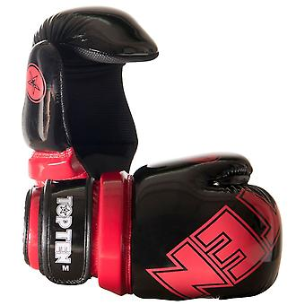 Top Ten Glossy Block Pointfighter Guantes Negro/Rojo