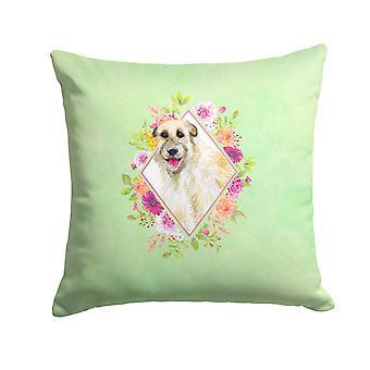 Irish Wolfhound Green Flowers Fabric Decorative Pillow