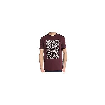 Emporio Armani puuvilla Pyöreä kaula painettu Eagle logo Burgundi T-paita