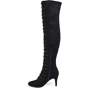 Brinley Co Womens TAYE-TAU-120 Suede Closed Toe Over Knee Fashion Boots