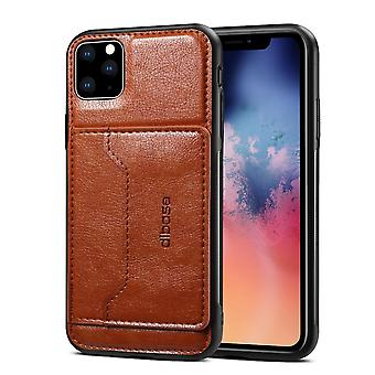 For iPhone 11 Pro Max Dibase TPU + PC + PU Wild Horse Texture Protective Case Wallet, Brown