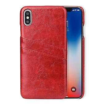 For iPhone XS MAX Cover,Deluxe Wallet with Card Slots Leather Phone Case,Red