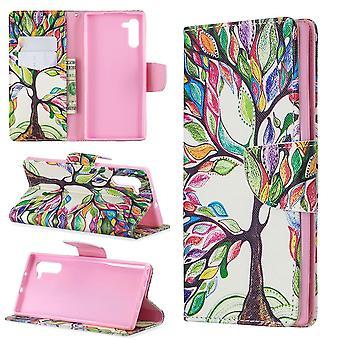 Für Samsung Galaxy Note 10 Fall bunten Baum des Lebens PU Leder Brieftasche Abdeckung