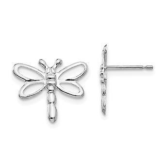 14 k Weißgold für Jungen oder Mädchen poliert Libelle Ohrringe