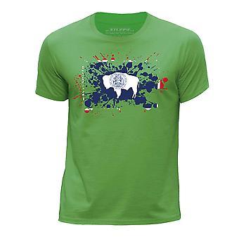 STUFF4 Chłopca rundy szyi T-shirty-Shirt / / Wyoming stanu USA flaga ikona/zielony