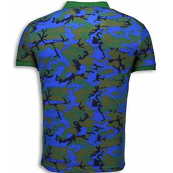 Camo Polo Shirt-Neon Camouflage Polo Shirt-Blue