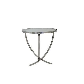 Licht & Wohnzimmer Tisch Stativ 60x60cm Soro Nickel mit Glasplatte