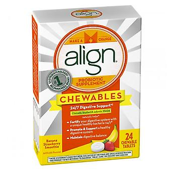 Align probiotic, chewable tablets, banana strawberry smoothie, 24 ea