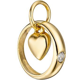 Pierścień z serca 333 złoty żółty 1 Gold sześciennych tlenku cyrkonu ☆ wisiorek do chrztu dzieci