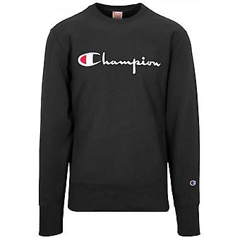 Champion Reverse Weave Black Big Script Sweatshirt