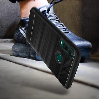 Protective Case for Huawei Y6p Flexible Carbon metallic effect Black