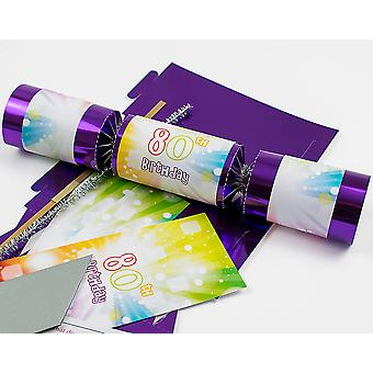Single 80th Birthday Purple Foil Make Your Own Cracker Craft Kit