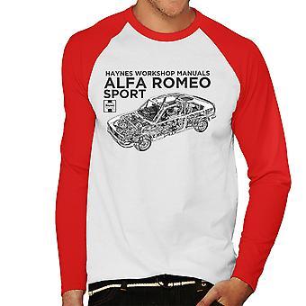 Haynes proprietários Workshop Manual 0292 Alfa Romeo Sport Baseball preto masculino t-shirt de mangas compridas