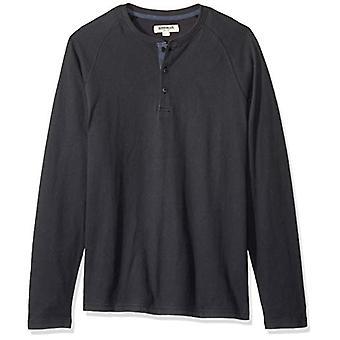 Goodthreads Men's Long-Sleeve Sueded Jersey Henley, Black, X-Small