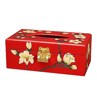 Red Magnolia Wooden Tissue Container 23x12.5x9cm