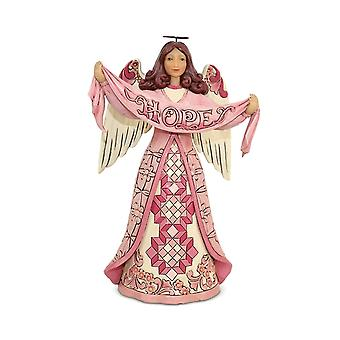 Jim Shore Heartwood Creek Hope Breast Cancer Awareness Angel Statue Figurine