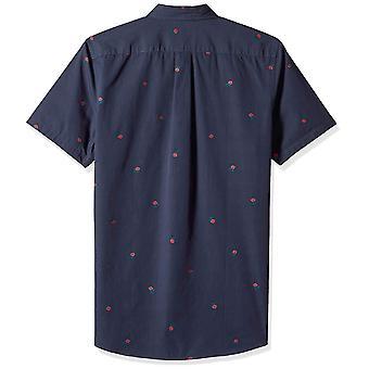Goodthreads Men's Standard-Fit Short-Sleeve Dobby Shirt, -navy rose, X-Large