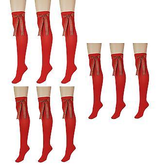 Kvinder's Rød med bue over knæet højt kostume Sokker 4-6 UK