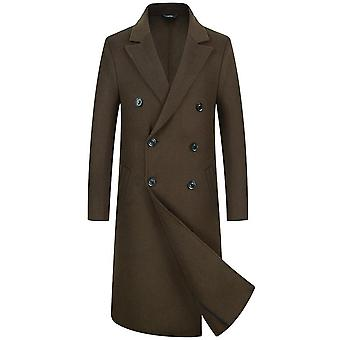 Men's Business Premium Woolen Trench Coat Slim Fit Quilted Lining Quality Overcoat Long Pea Coat