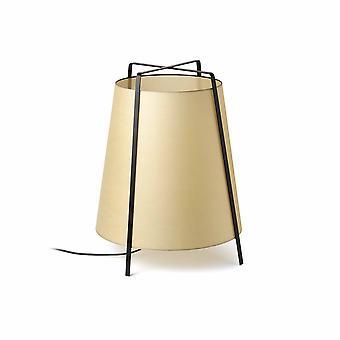 Faro Akane - 1 Light Floor Lamp Black with Beige Shade, E27