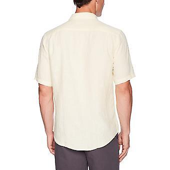 エッセンシャル メン&アポス(レギュラーフィット半袖リネンシャツ、イエロー、ラージ)
