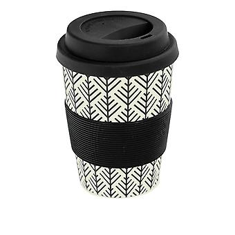 Rink Drink Bamboo Reusable Coffee Cup with Silicone Lid & Sleeve - 350ml - Aztec Leaf - Black
