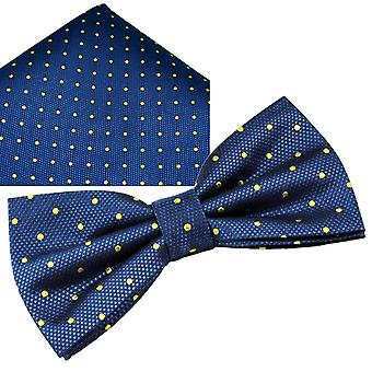 Ties Planet Gold Label Royal Blue & Yellow Polka Dot Silk Bow Tie & Pocket Square Handkerchief Set