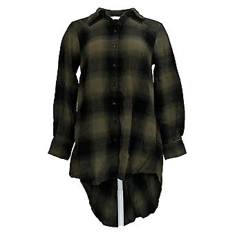 Lisa Rinna Collection Women's Top Plaid Button Hi-Low Hem Green A375801
